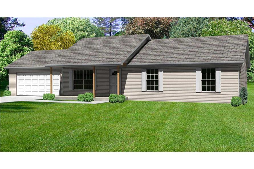This is a 3D rendering of these Ranch House Plans.