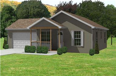 2-Bedroom, 884 Sq Ft Ranch Home Plan - 148-1039 - Main Exterior