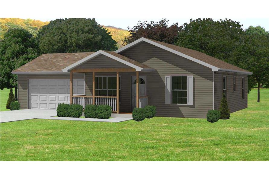 2-Bedroom, 884 Sq Ft Ranch Home Plan - 148-1039 - Main Exterior