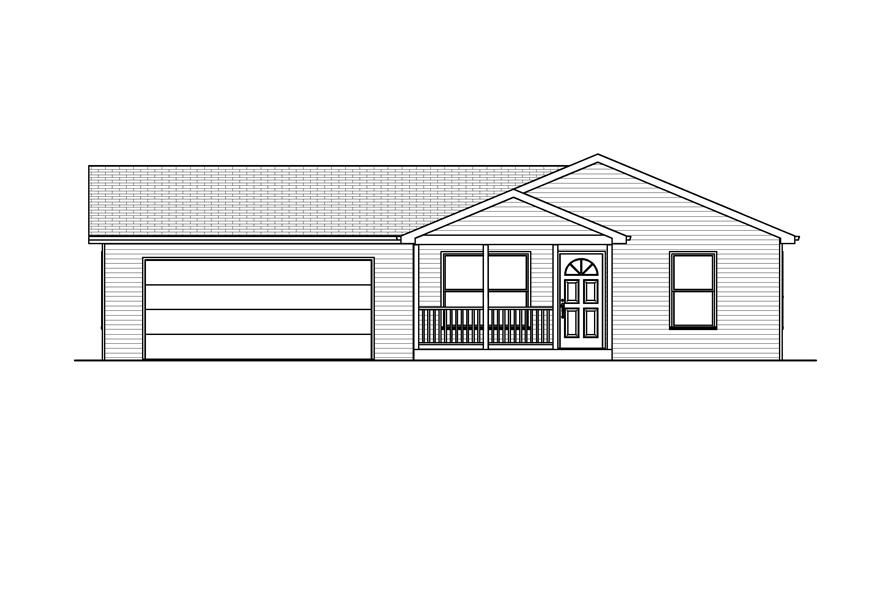 Home Plan Front Elevation of this 2-Bedroom,884 Sq Ft Plan -148-1039
