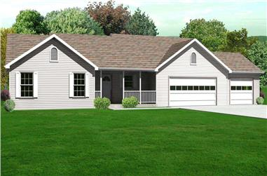 3-Bedroom, 1798 Sq Ft Country House Plan - 148-1041 - Front Exterior