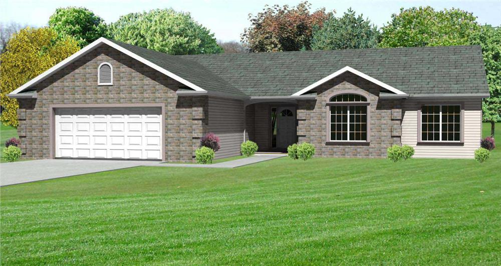 This is the front elevation of this set of Ranch Homeplans.