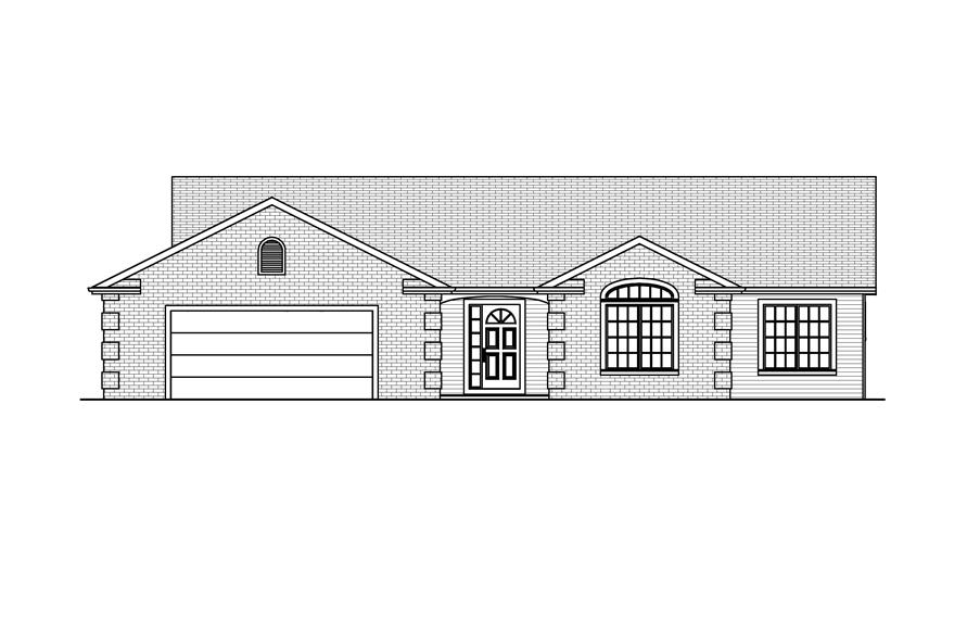 Home Plan Front Elevation of this 3-Bedroom,1638 Sq Ft Plan -148-1043