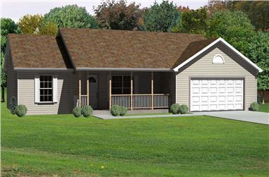3-Bedroom, 1408 Sq Ft Country Home Plan - 148-1044 - Main Exterior