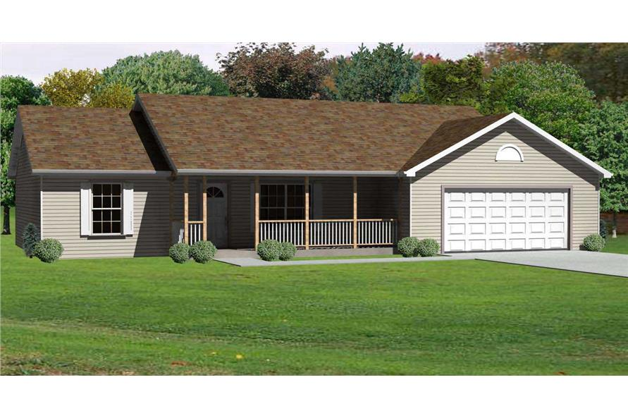 This is a computer-generated 3D rendering of these Small Ranch Home Plans.