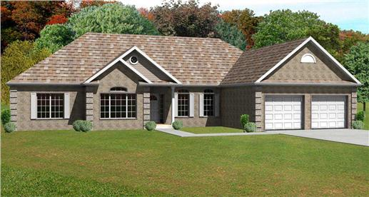 This is a 3D Computer Generated Front Elevation of these European Ranch Houseplans.