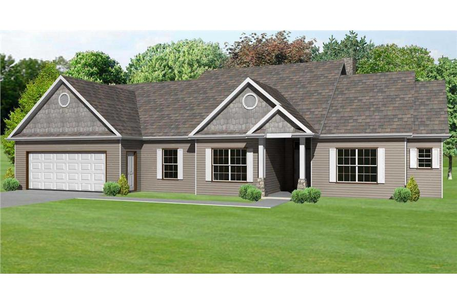This image shows the 3D computerized colored front elevation rendering of these Craftsman Country Houseplans.