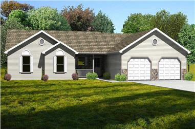 3-Bedroom, 1844 Sq Ft Country House Plan - 148-1047 - Front Exterior