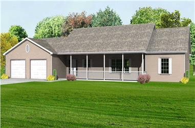3-Bedroom, 1542 Sq Ft Country Home Plan - 148-1048 - Main Exterior