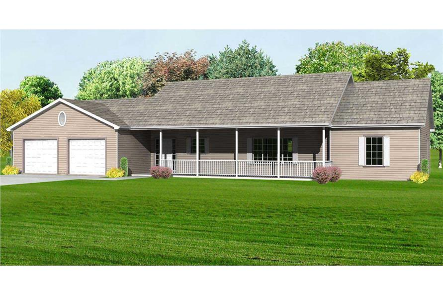 This is the front elevation rendering of these Ranch House Plans.