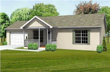 3-Bedroom, 1064 Sq Ft Country House Plan - 148-1050 - Front Exterior