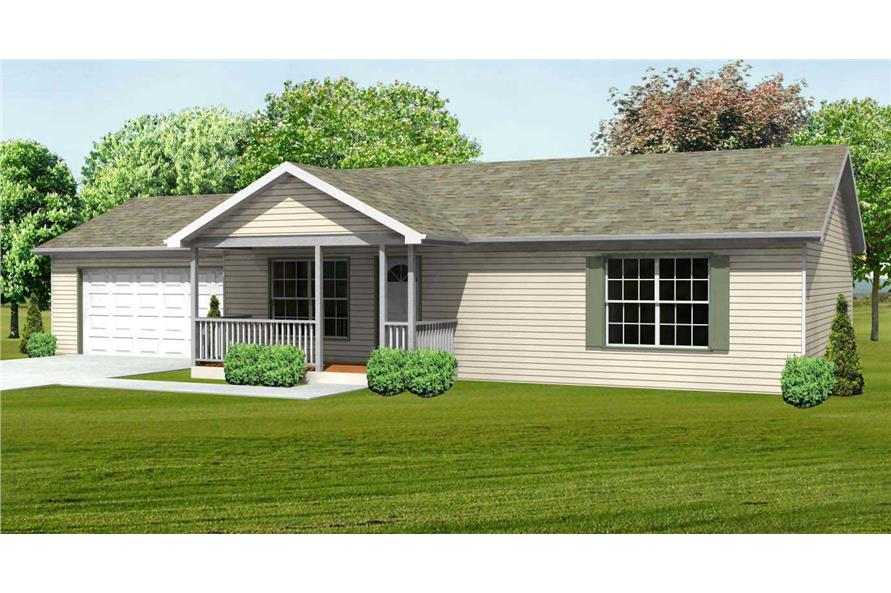 This is a computerized front elevation of these Ranch Homeplans.