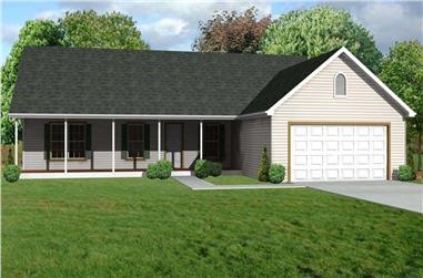 This is a computer rendering of these Ranch Houseplans.