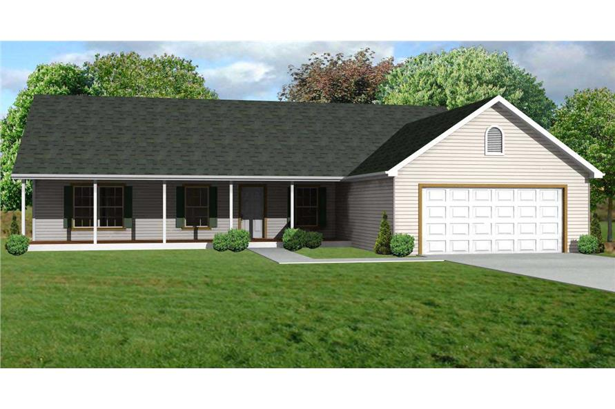 3-Bedroom, 1344 Sq Ft Country House Plan - 148-1051 - Front Exterior