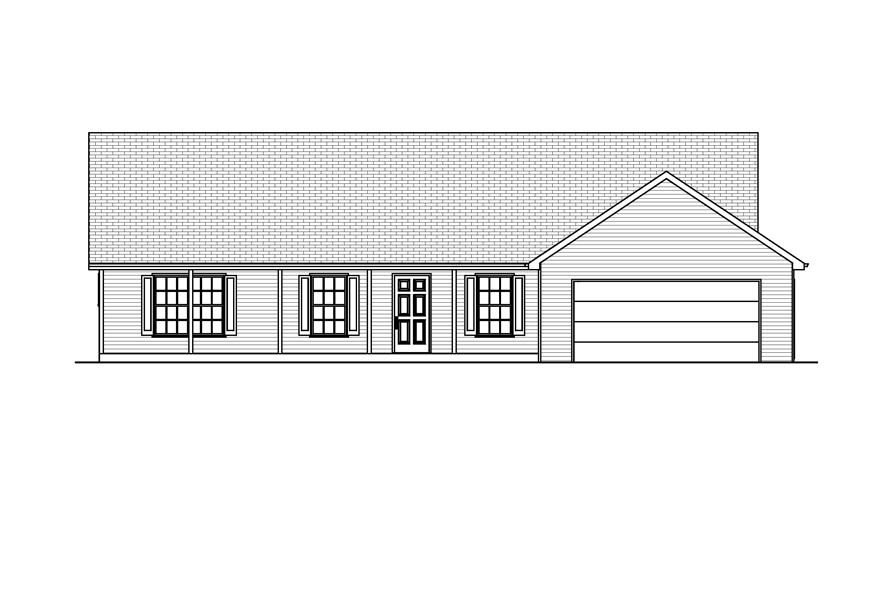 Home Plan Front Elevation of this 3-Bedroom,1344 Sq Ft Plan -148-1051