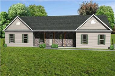4-Bedroom, 2016 Sq Ft Country House Plan - 148-1052 - Front Exterior
