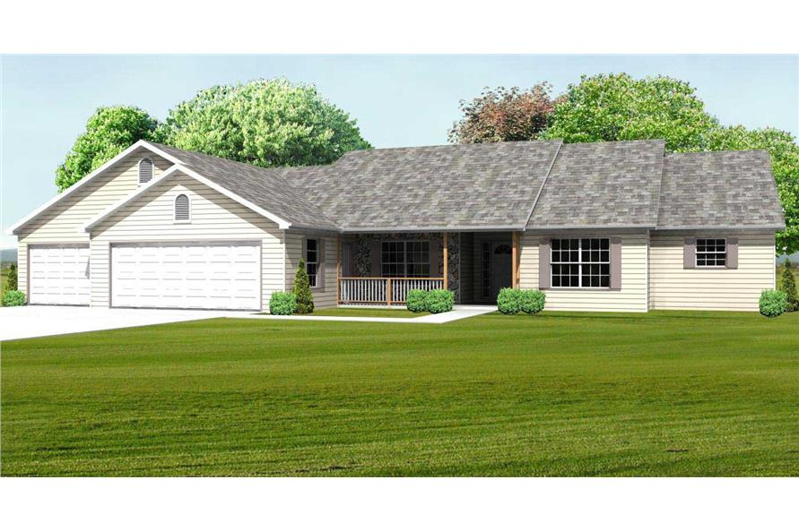 This is a computer rendering of these Ranch Homeplans
