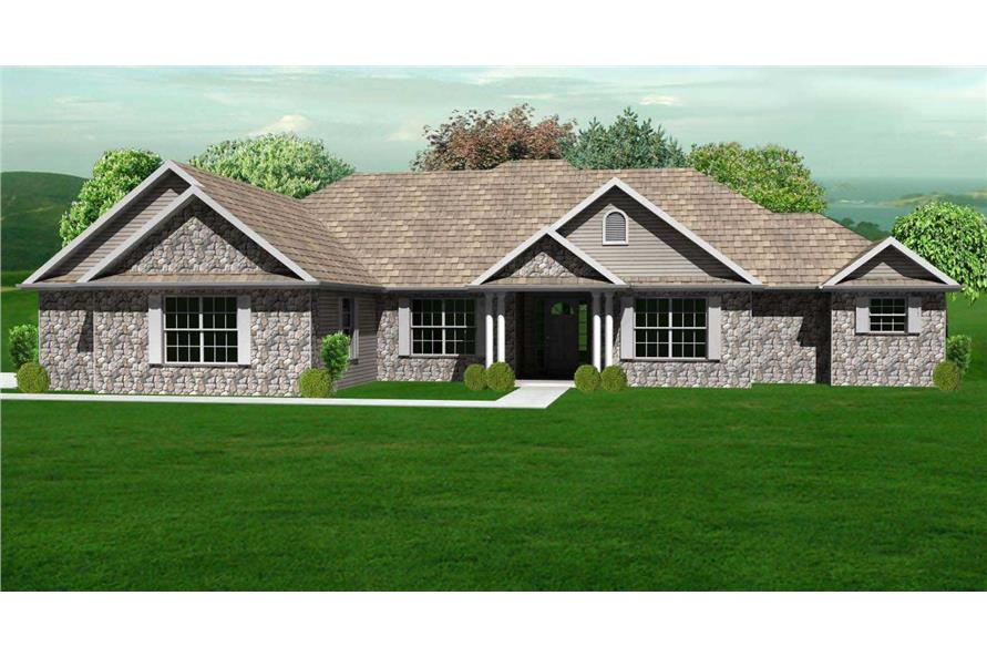 This is a 3D rendering of these European Ranch Home Plans.