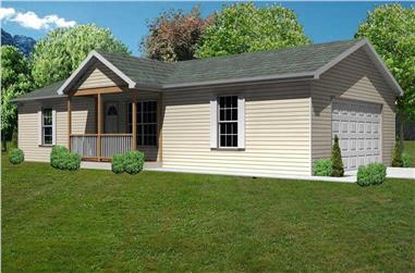 3-Bedroom, 936 Sq Ft Country Home Plan - 148-1058 - Main Exterior