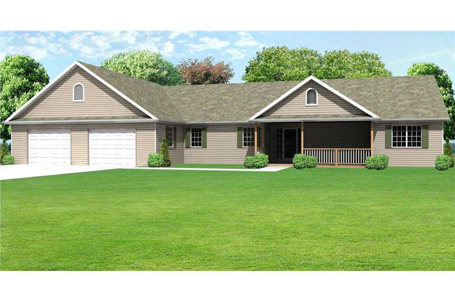 This rendering really sets these Ranch Homeplans apart.