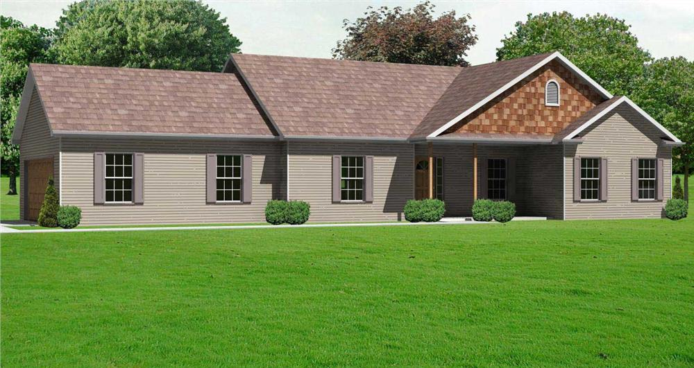 This is a flambouyant front elevation of these Ranch Houseplans.
