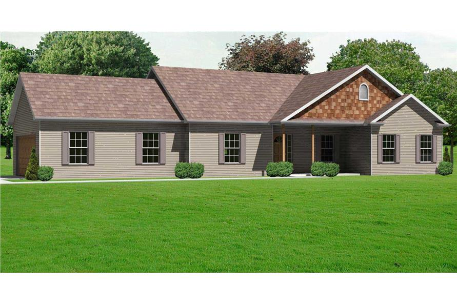 2-Bedroom, 1664 Sq Ft Country Home Plan - 148-1060 - Main Exterior