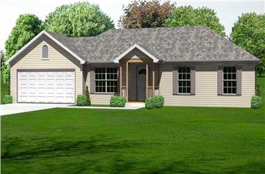 3-Bedroom, 1030 Sq Ft Country Home Plan - 148-1061 - Main Exterior