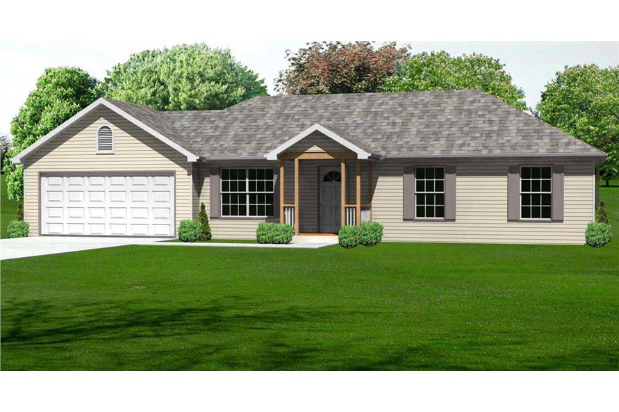 This is a 3D rendering of these Ranch Home Plans.