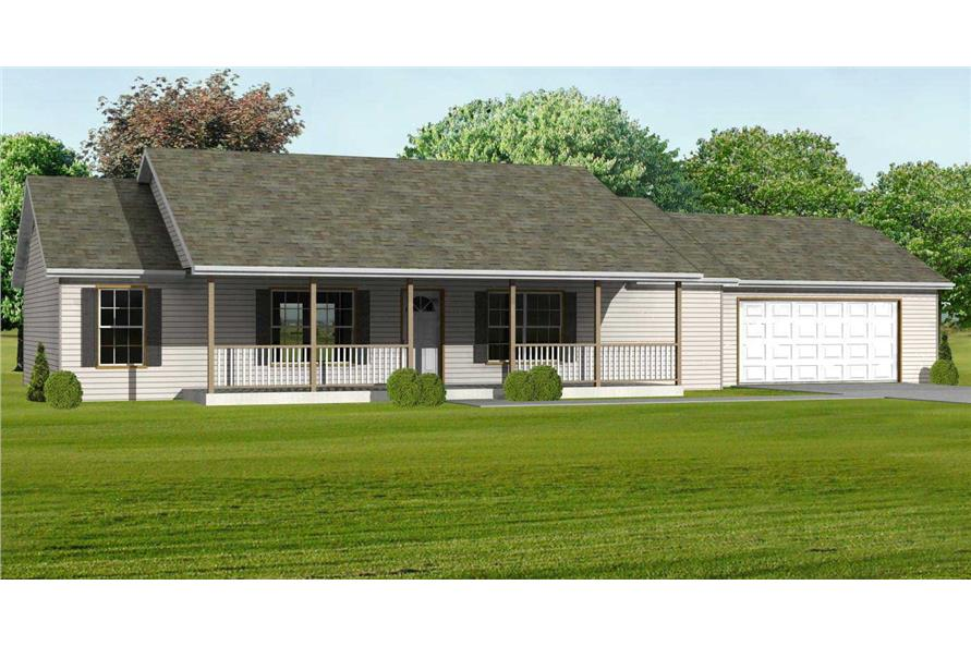 This image shows the front elevation of these Ranch Houseplans.