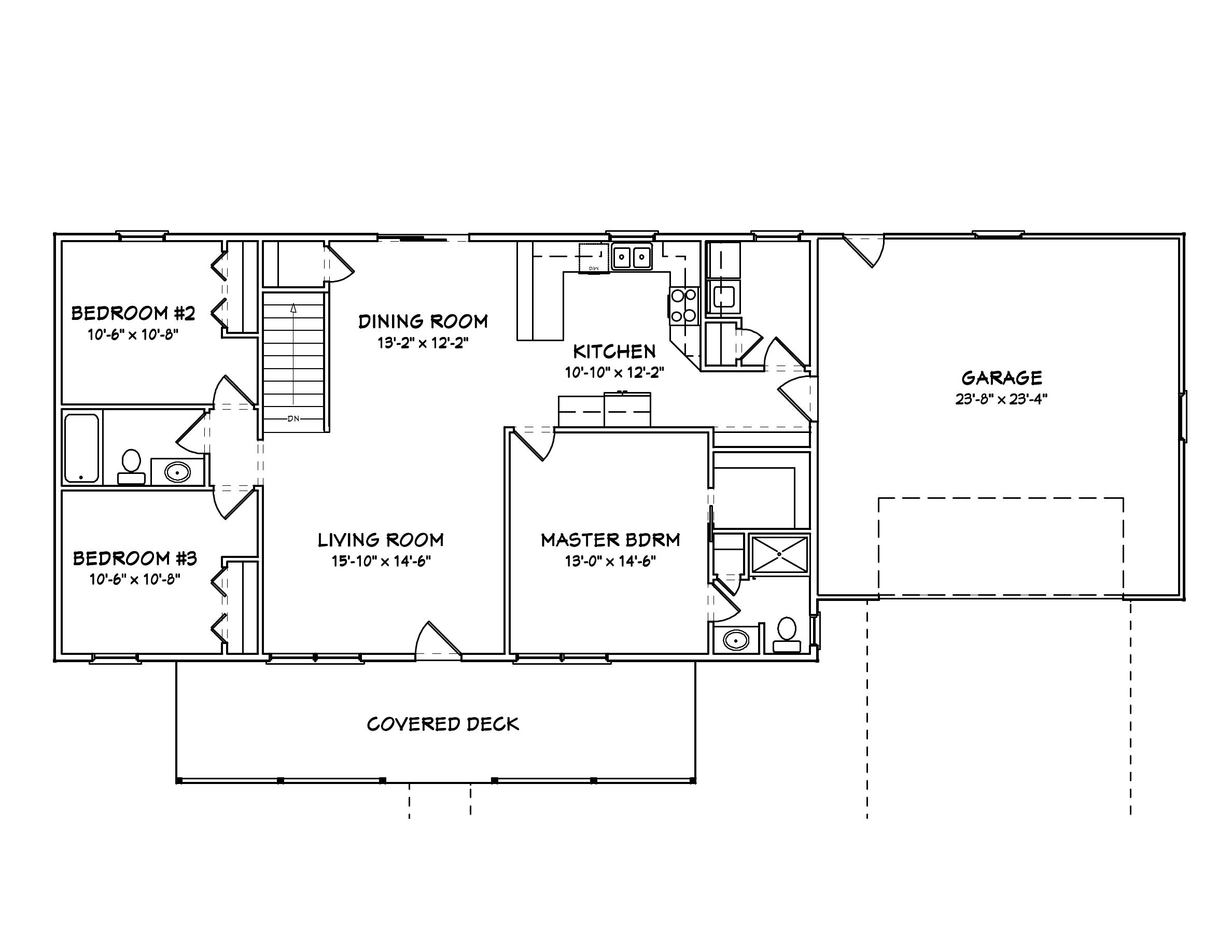 Ranch home plans home design mas1023 - Average square footage of a 3 bedroom house ...