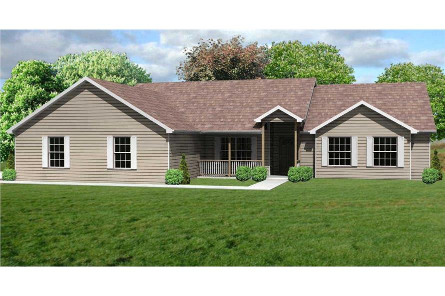 This is a computer front elevation of these Ranch House Plans.