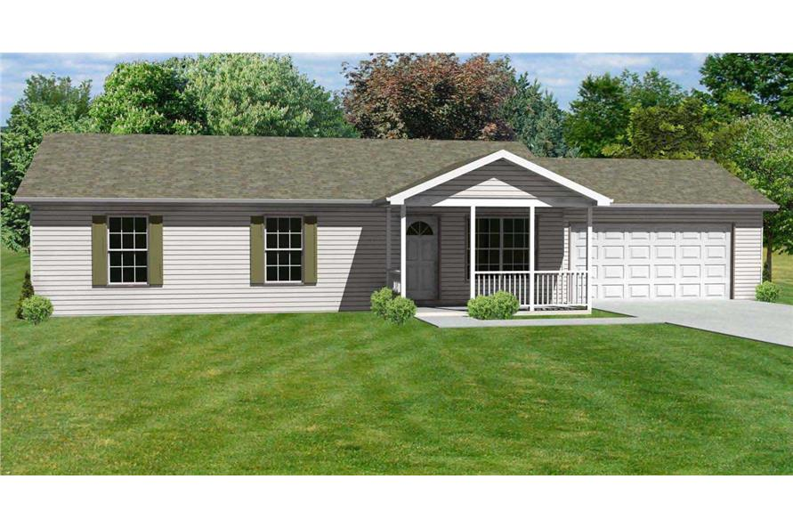 This is a colorful rendering of these Ranch Home Plans.