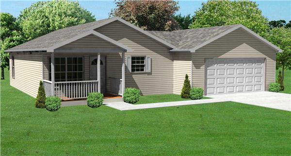 This image shows the front elevation of these Bungalow House Plans.