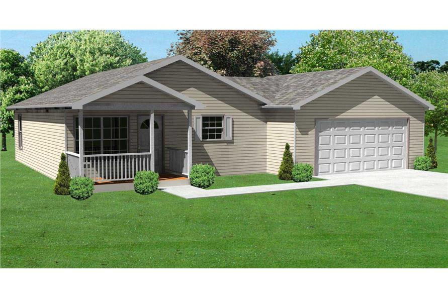 3-Bedroom, 936 Sq Ft Ranch Home Plan - 148-1068 - Main Exterior