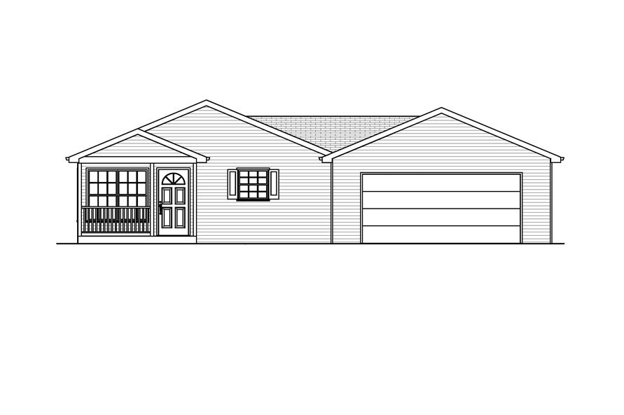 Home Plan Front Elevation of this 3-Bedroom,936 Sq Ft Plan -148-1068