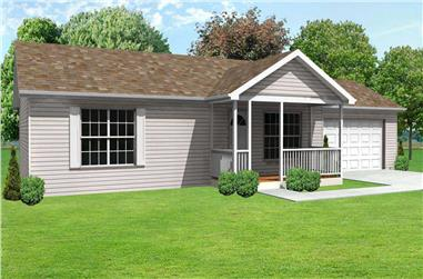 3-Bedroom, 1064 Sq Ft Country Home Plan - 148-1069 - Main Exterior