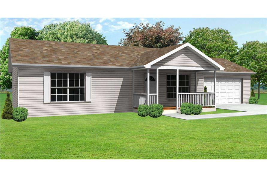 This is a 3D front elevation of these Ranch Home Plans.