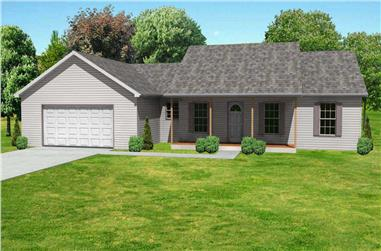 3-Bedroom, 1360 Sq Ft Country House Plan - 148-1070 - Front Exterior