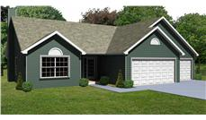 This image shows the front elevation of these Ranch House Plans.