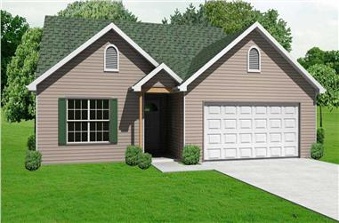 3-Bedroom, 1332 Sq Ft Country House Plan - 148-1074 - Front Exterior