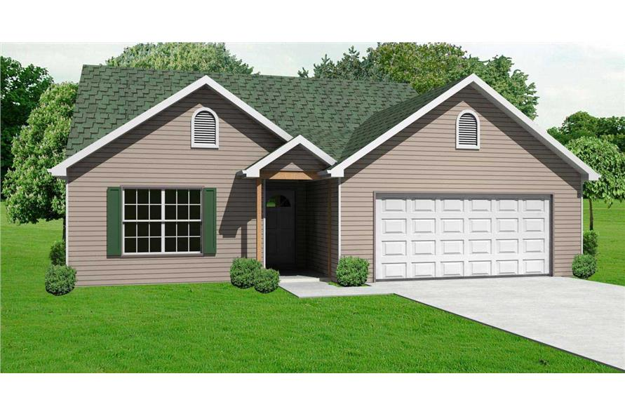 This is a 3D image of these Country Ranch House Plans.