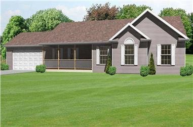 3-Bedroom, 1662 Sq Ft Country House Plan - 148-1075 - Front Exterior