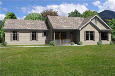 This image shows a front view of these Ranch Home Plans.