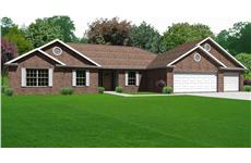 This image shows the front elevation of these Ranch Home Plans.