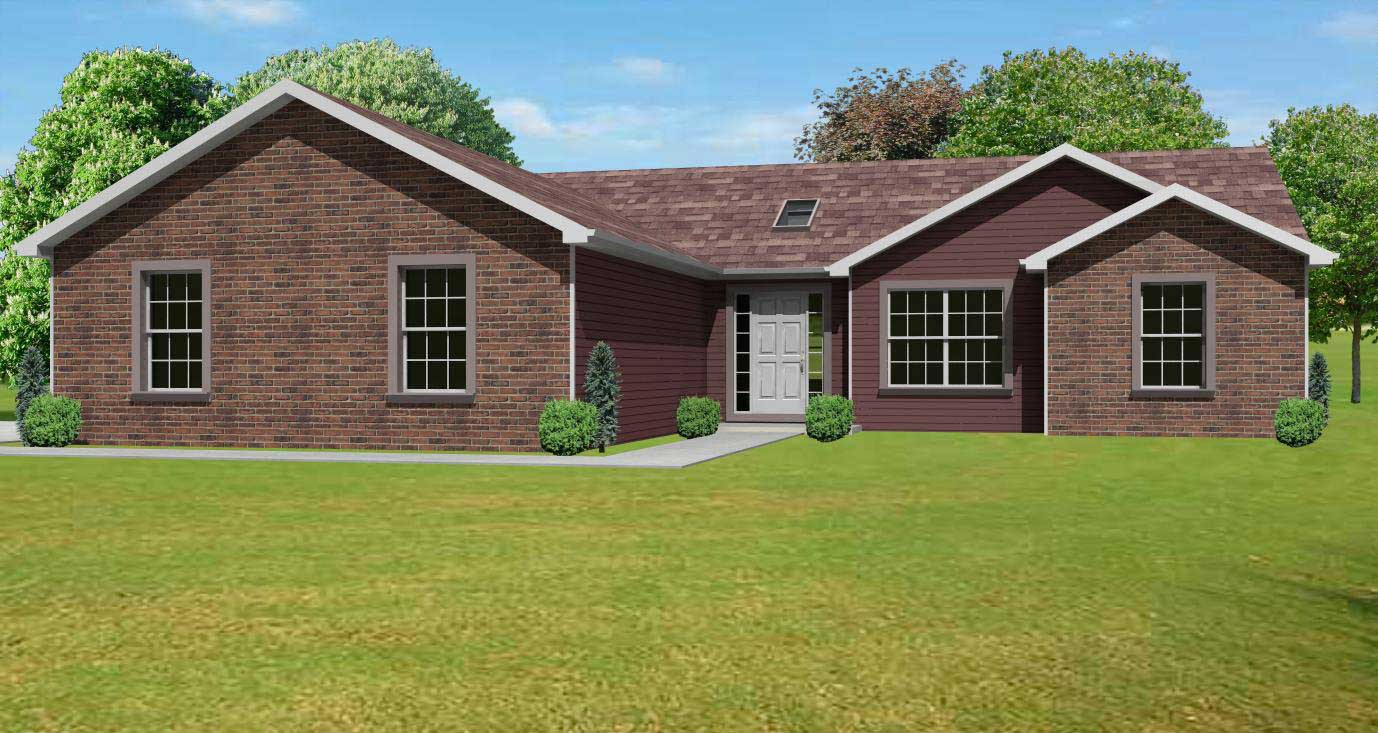 Ranch home plans home design mas1003 for Small brick ranch homes