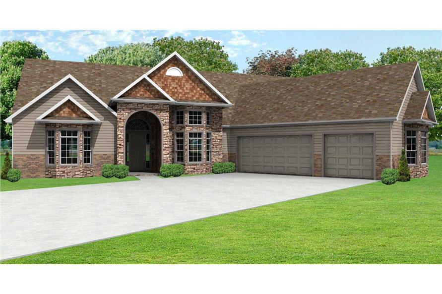 2-Bedroom, 2564 Sq Ft Country House Plan - 148-1079 - Front Exterior