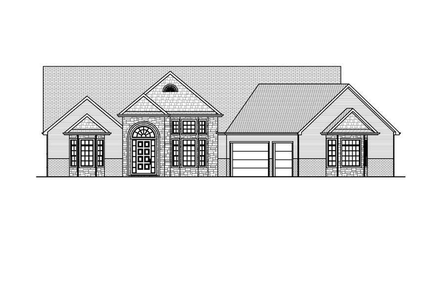 Home Plan Front Elevation of this 2-Bedroom,2564 Sq Ft Plan -148-1079