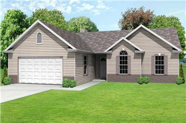 This is a wonderful computer rendering of these Ranch House Plans.