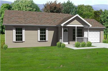 3-Bedroom, 1150 Sq Ft Country House Plan - 148-1082 - Front Exterior