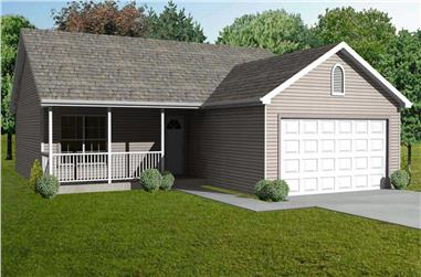 3-Bedroom, 1120 Sq Ft Country Home Plan - 148-1085 - Main Exterior